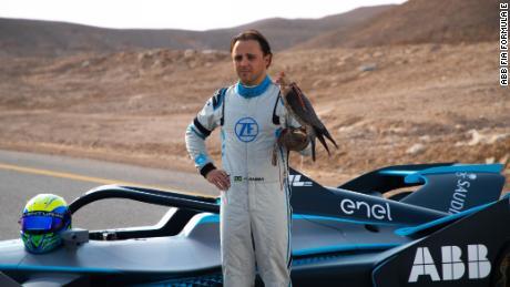 Felipe Massa raced a peregrine falcon ahead of his Formula E debut.
