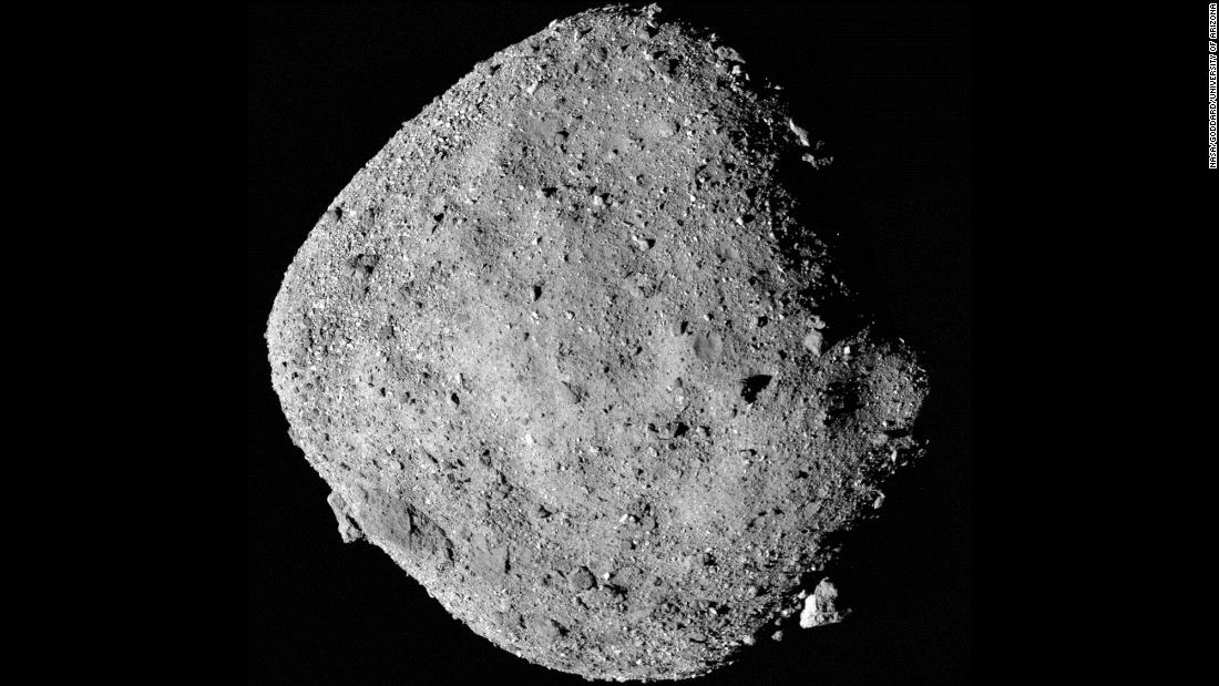 This mosaic image of asteroid Bennu is composed of 12 PolyCam images collected on December 2 by the OSIRIS-REx spacecraft from a range of 15 miles.