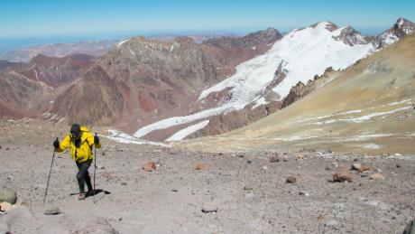 Jornet ascends Aconcagua in Argentina in 2014.