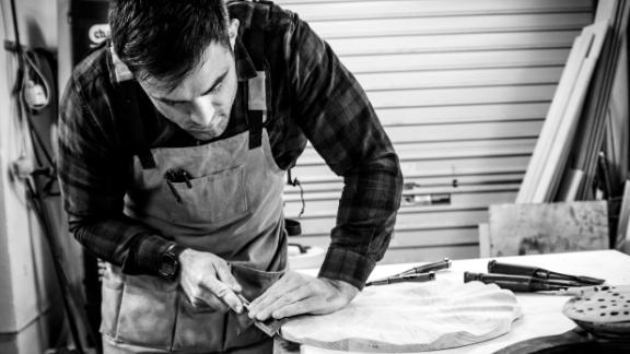 Former rugby player Ronan Loughney in his workshop