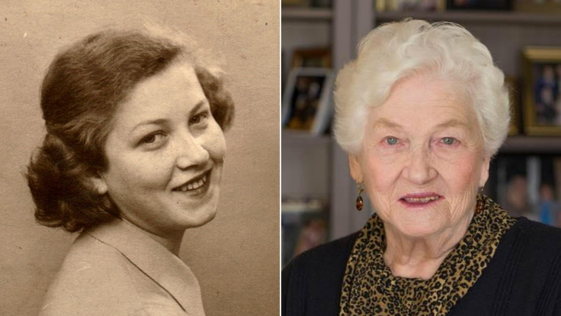 Holocaust survivor Judy Meisel pictured just after the war and recently.
