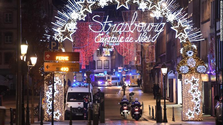 Police motorcycles drives in the streets of Strasbourg, eastern France, after a shooting breakout, on December 11, 2018. - One person has been killed and ten people injured in a shooting today near a Christmas market in the eastern French city of Strasbourg, police said, adding that the suspected gunman was on the run. (Photo by Frederick FLORIN / AFP) (Photo credit should read FREDERICK FLORIN/AFP/Getty Images)