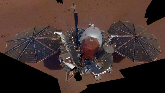 This is NASA InSight's first selfie on Mars. It displays the lander's solar panels and deck. On top of the deck are its science instruments, weather sensor booms and UHF antenna. Image Credit: NASA/JPL-Caltech