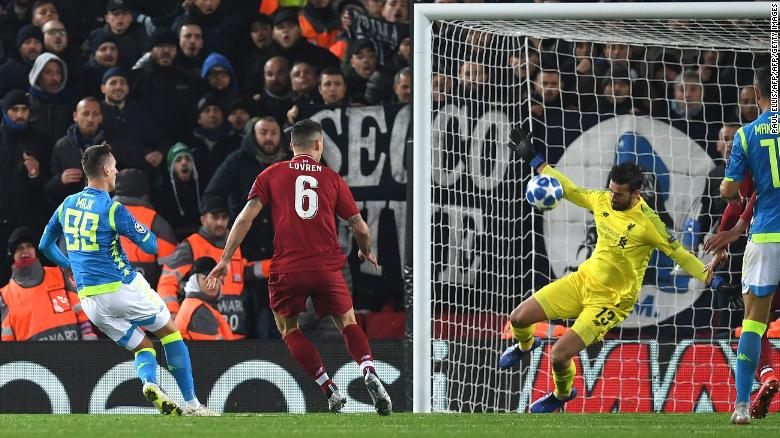 Alisson spared Liverpool's blushes against Napoli with an injury-time save Tuesday in the Champions League.