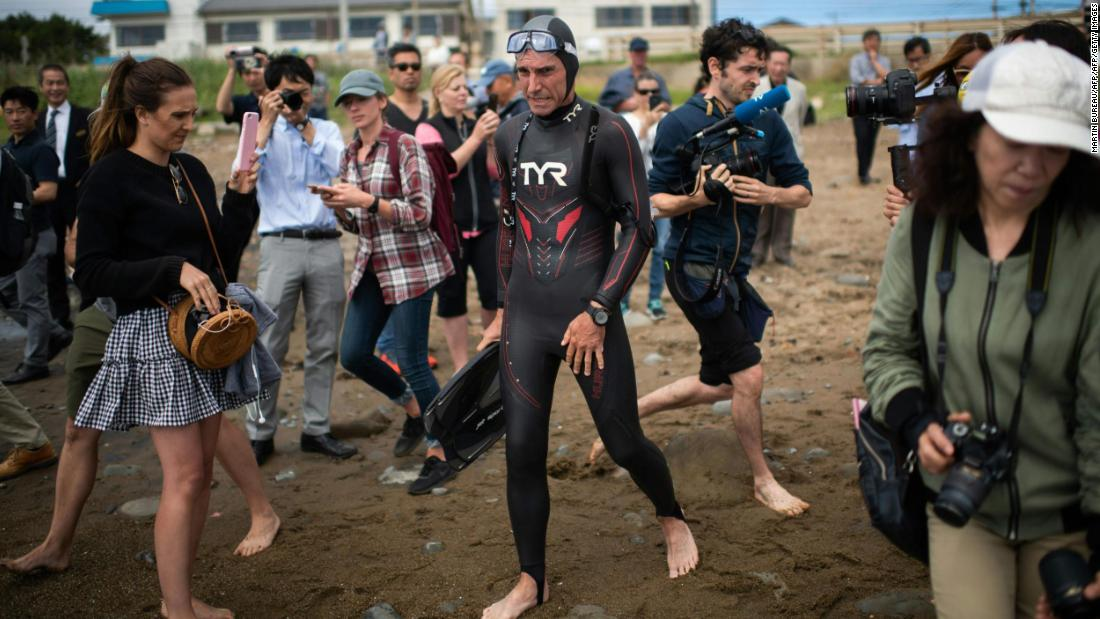French swimmer steps onto land in Hawaii -- 6 months after entering ocean in Japan