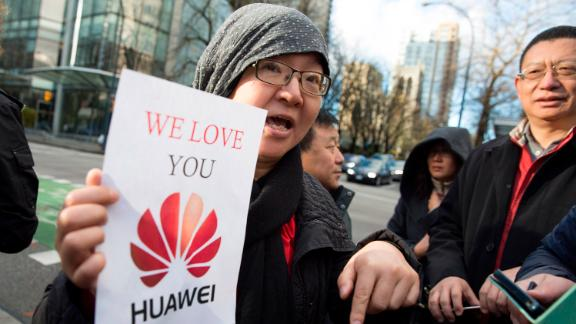 A Chinese protester outside Meng Wanzhou