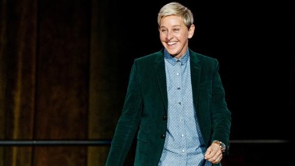 "Comedian Ellen DeGeneres seen onstage during ""A Conversation With Ellen DeGeneres"" at Rogers Arena on October 19, 2018 in Vancouver, Canada."
