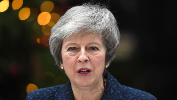 LONDON, ENGLAND - DECEMBER 12:  Prime Minister Theresa May makes a statement in Downing Street after it was announced that she will face a vote of no confidence, to take place tonight, on December 12, 2018 in London, England. Sir Graham Brady, the chairman of the 1922 Committee, has received the necessary 48 letters (15% of the parliamentary party) from Conservative MP