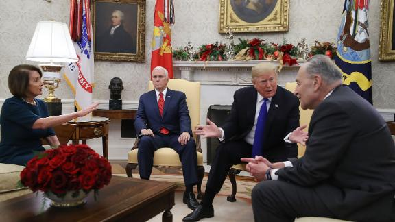 The most intriguing participant in the meeting may have been Vice President Mike Pence, who said nothing. Rather, he routinely closed his eyes and seemed to be retreating as his boss did verbal battle with the Democrats. You also see here Trump