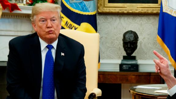 When Pelosi or Schumer did talk and counter his points, Trump would purse his lips and stare ahead. Even if there aren