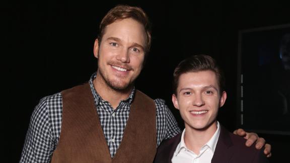 Actors Chris Pratt (L) and Tom Holland