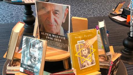 The Brookwood Library in Hillsboro put up a memorial for Wiener, along with his memoir on the left.