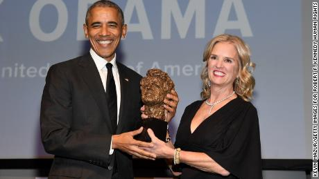 Former President Barack Obama accepts an award onstage from Robert F. Kennedy Human Rights President Kerry Kennedy during the 2019 Robert F. Kennedy Human Rights Ripple Of Hope Awards on December 12, 2018 in New York City.  (Photo by Kevin Mazur/Getty Images for Robert F. Kennedy Human Rights )