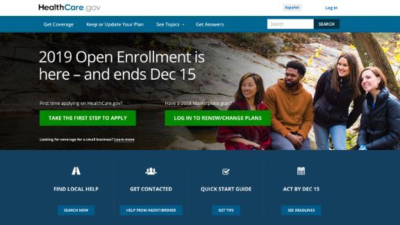 Screengrab of healthcare.gov from December 13, 2018