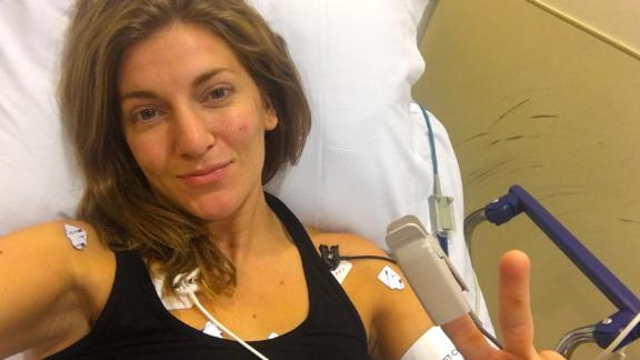 Molly Burdick in the hospital during one of her heart procedures.