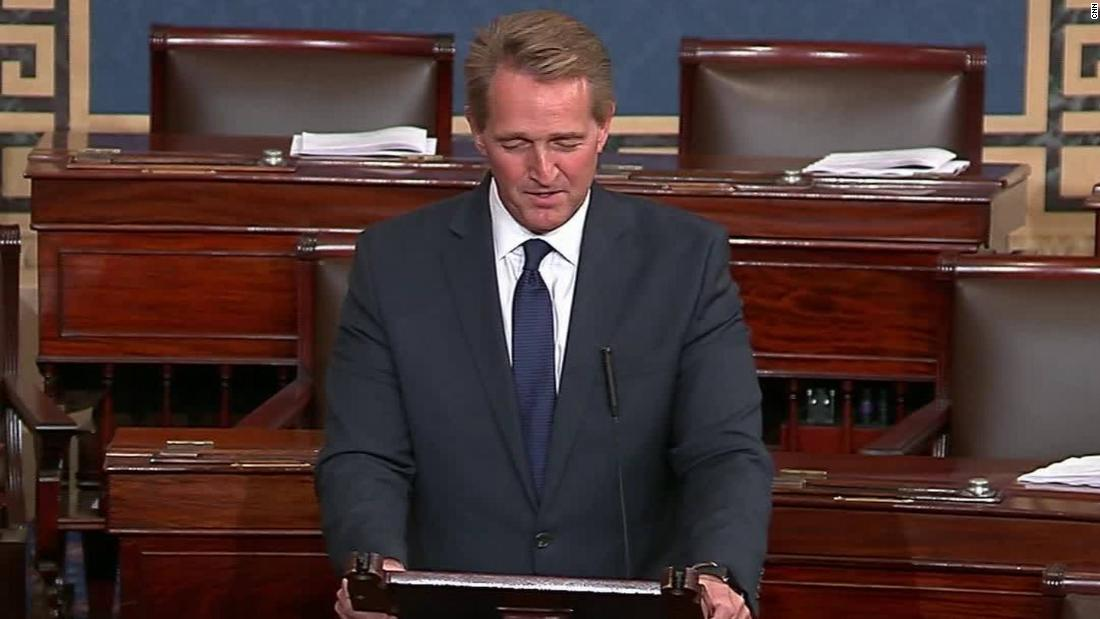 Jeff Flake warns 'threats to our democracy from within and without are real'