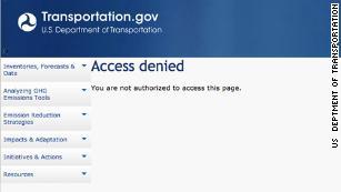 Acceso denegado: 2 páginas de cambio climático eliminadas del sitio web de DOT # 39