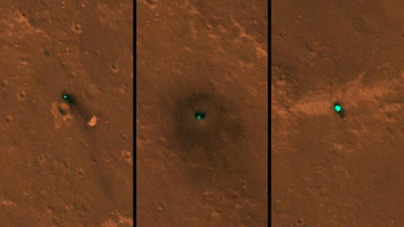 InSight as seen from space. The craft, its heat shield and its parachute were imaged on December 6 and 11 by the HiRISE camera onboard NASA