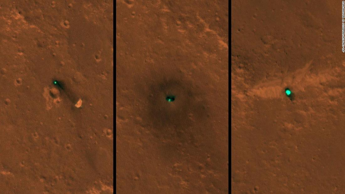 InSight as seen from space. The craft, its heat shield and its parachute were imaged on December 6 and 11 by the HiRISE camera onboard NASA's Mars Reconnaissance Orbiter.