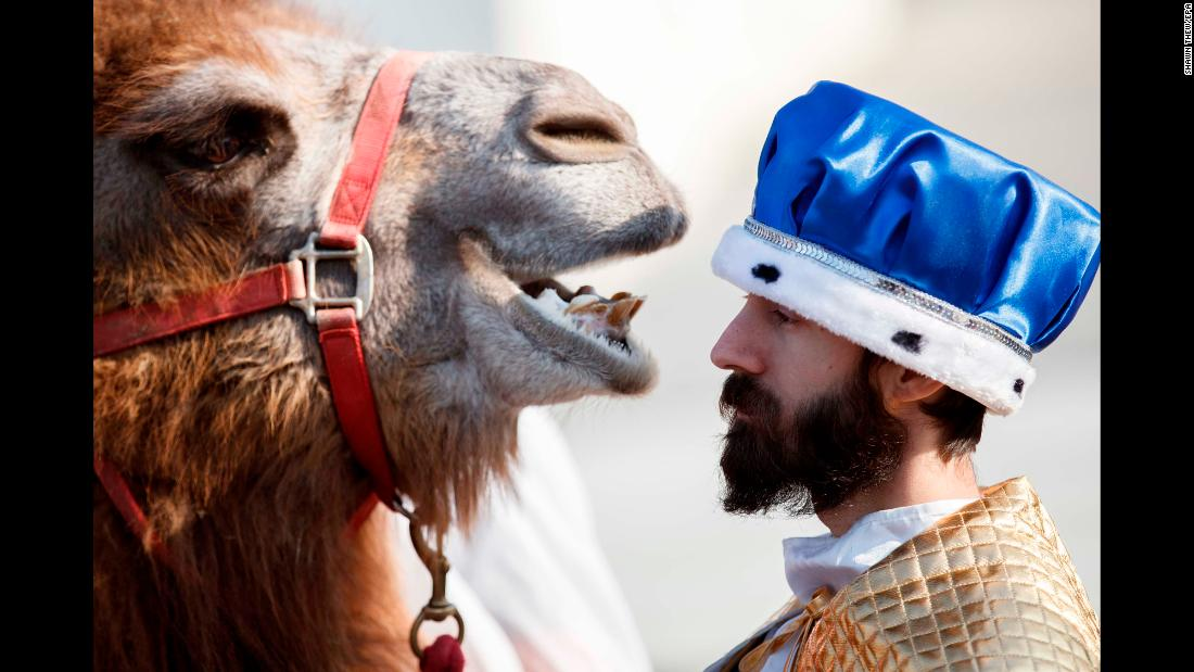 """Historical re-enactors participate in the Liberty Counsel's """"Live Nativity"""" ceremonial procession around the Supreme Court in Washington, DC, on Wednesday, December 12."""