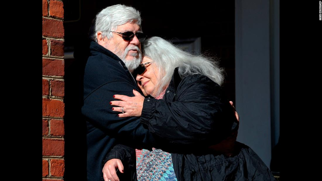 Susan Bro, mother of Heather Heyer , hugs her husband, Kent, in front of Charlottesville Circuit Court on Tuesday, December 11, after a jury recommended life plus 419 years for James Alex Fields Jr. for the death of Heyer. The jury found Fields guilty of first-degree murder, as well as eight counts of malicious wounding and one count of failing to stop at an accident involving a death.