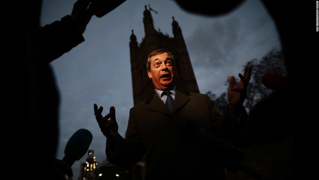 """Brexit campaigner and member of the European Parliament Nigel Farage talks to the media in Westminster on Monday, December 10, in London. Britain's Prime Minister Theresa May had announced that the government would delay the vote on Brexit deal after it was made clear she would lose it """"by a significant margin."""""""