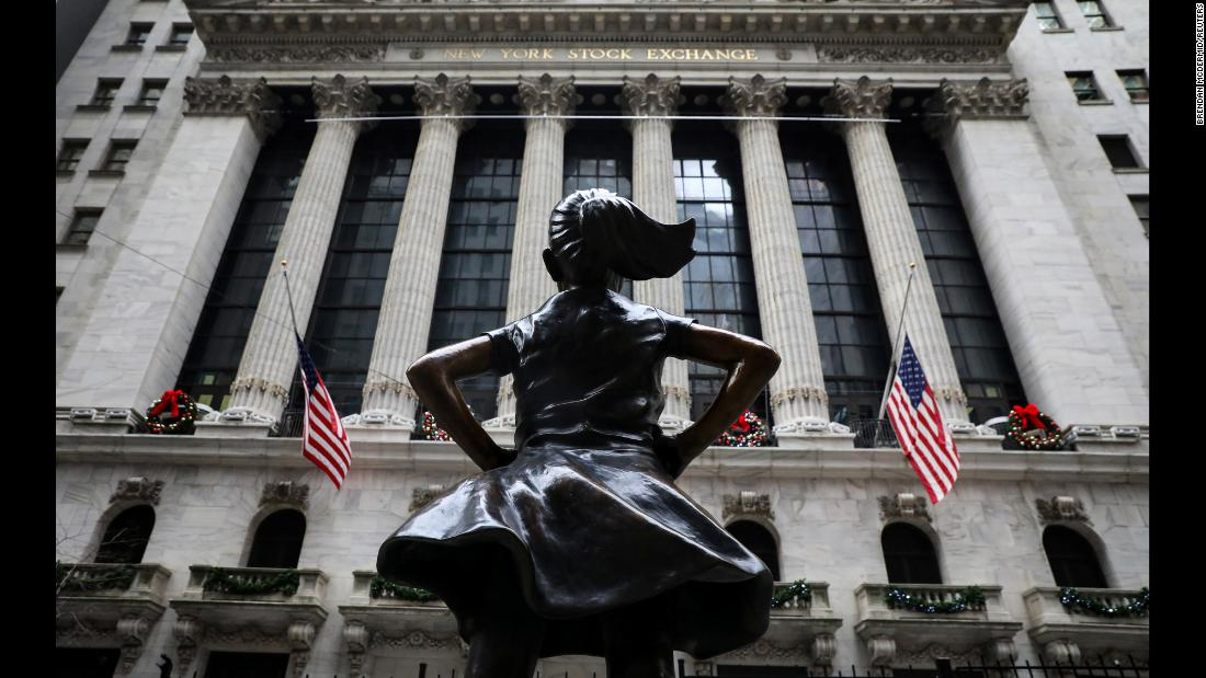 The ' Fearless Girl' statue sits at its new location outside the New York Stock Exchange near Wall Street in New York City, on Tuesday, December 11.