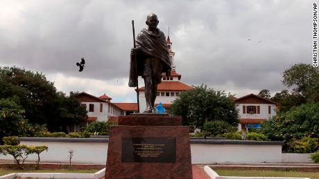 A Mahatma Gandhi statue sparked protests after its 2016 unveiling at the University of Ghana in Accra.