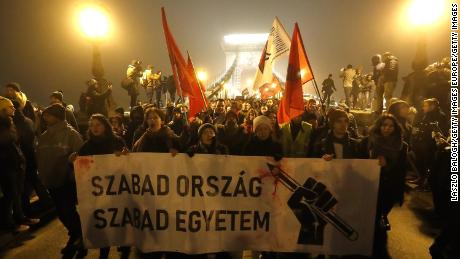 The protests follow two recent legislative initiatives by Orban: one that allows employers to force employees to work more overtime, the other the creation of a parallel courts system known as administrative courts to deal with cases related to corruption and free speech, among other issues.