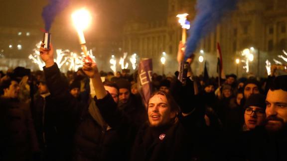 Demonstrators protesting on December 13 against recent legislative measures introduced.