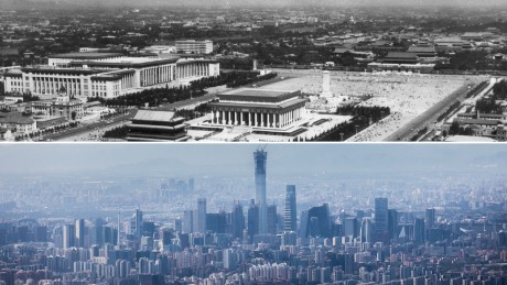 Tiananmen Square in Beijing in 1977 with the giant mausoleum of Chairman Mao in its centre, compared with the modern day skyline.