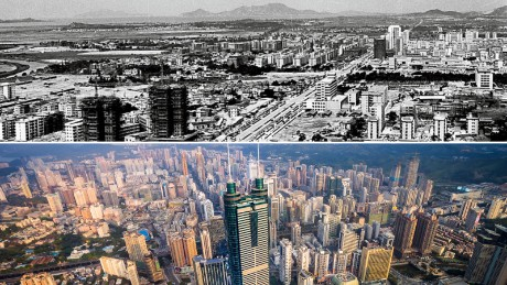 A view of the Chinese city of Shenzhen in 1982 compared with today.