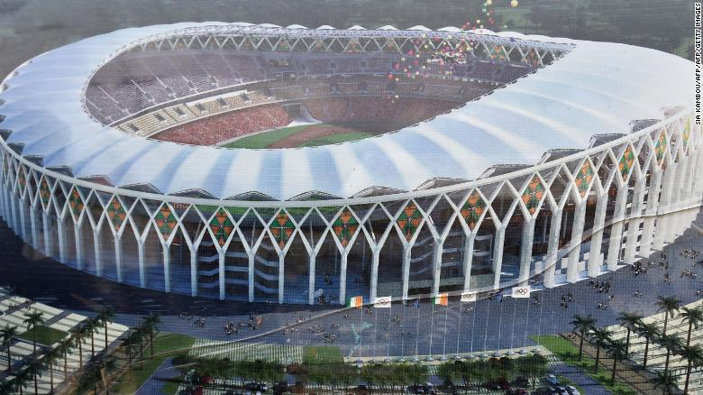 A model of the new Olympic stadium under construction in Ebimpe, ahead of the 2021 African Cup of Nations (CAN)