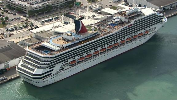 The Carnival Victory arrives at Miami after a four-day voyage.