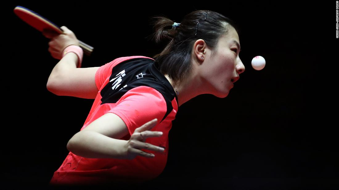 Ding Ning of China competes in the Women's Singles Quarterfinals against Cheng I-Ching of Taiwan during day two of the World Tour Grand Finals in Incheon, South Korea on Friday, December 14.