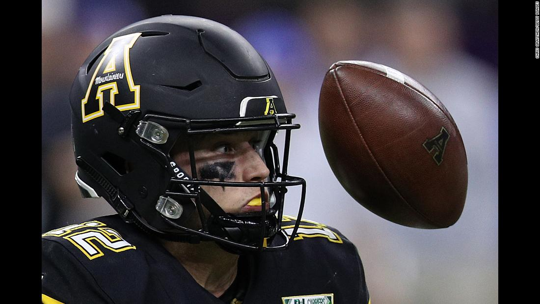 Zac Thomas of the Appalachian State Mountaineers fumbles the ball against the Middle Tennessee Blue Raiders during the R&L Carriers New Orleans Bowl at the Mercedes-Benz Superdome on December 15. The Mountaineers blew out the Blue Raiders 45-13.