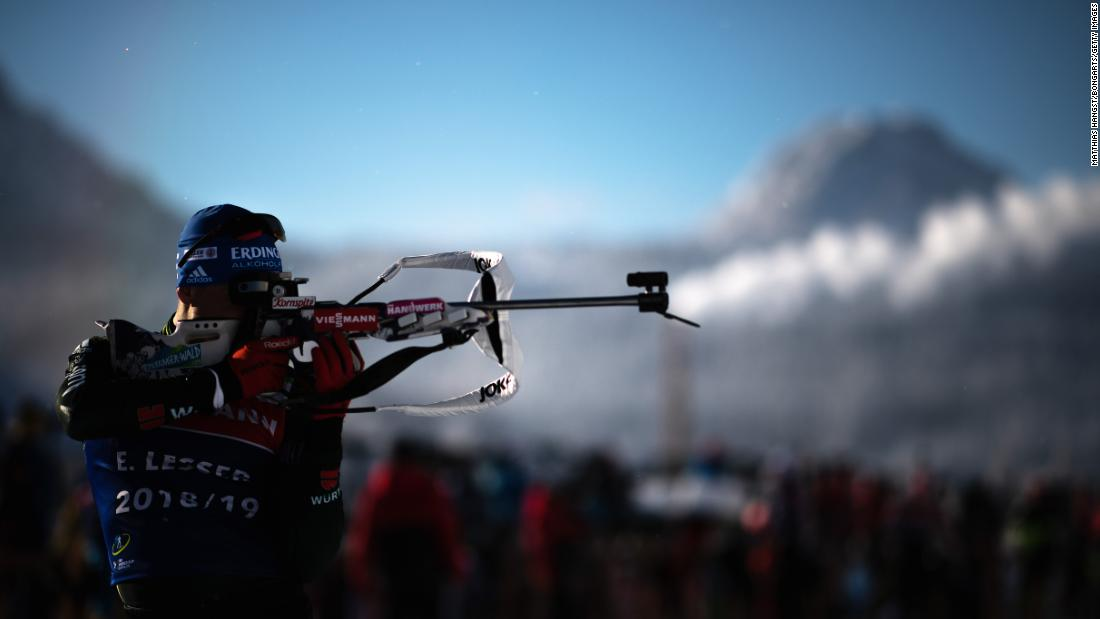 Germany's Erik Lesser practices at the shooting range during the official training for the men's 10 km individual competition at the Biathlon World Cup in Hochfilzen, Austria on Thursday, December 13.