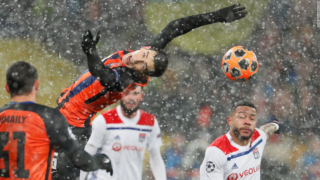 Shakhtar's Taras Stepanenko goes for the ball during the UEFA Champions League group F soccer match between Shakhtar Donetsk and Olympique Lyon in Kiev, Ukraine on Wednesday, December 12.