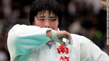 FUKUOKA, JAPAN - APRIL 07: Akira Sone reacts after winning the Women's +78kg final match against Sarah Asahina on day one of the All Japan Judo Championships by Weight Category at Fukuoka Convention Center on April 7, 2018 in Fukuoka, Japan. (Photo by Kiyoshi Ota/Getty Images)