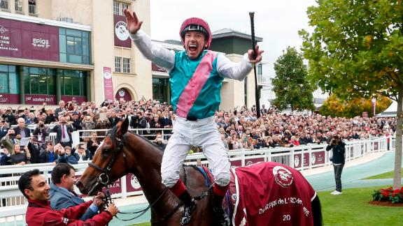 Europe's richest race is the Prix de l'Arc de Triomphe, the epitome of Parisian chic at the revamped Longchamp racecourse.  In 2018, the winner earned $3.2 million out of a fund of $5.6M.  Legendary jockey Frankie Dettori (pictured) holds the record for most race wins (six), including dual triumphs on Enable.