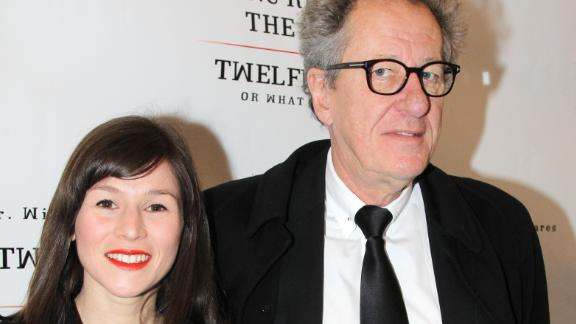 """Yael Stone and Geoffrey Rush at the opening night of """"Richard III"""" on Broadway at The Belasco Theater on November 10, 2013."""