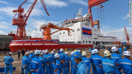 China's first inland-built icebreaker Xuelong 2 during an opening ceremony at a shipyard in Shanghai in September.