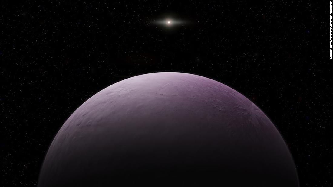 "An artist's illustration of one of the most distant solar system objects yet observed, 2018 VG18 -- also known as ""Farout."" The pink hue suggests the presence of ice. We don't yet have an idea of what ""FarFarOut"" looks like."