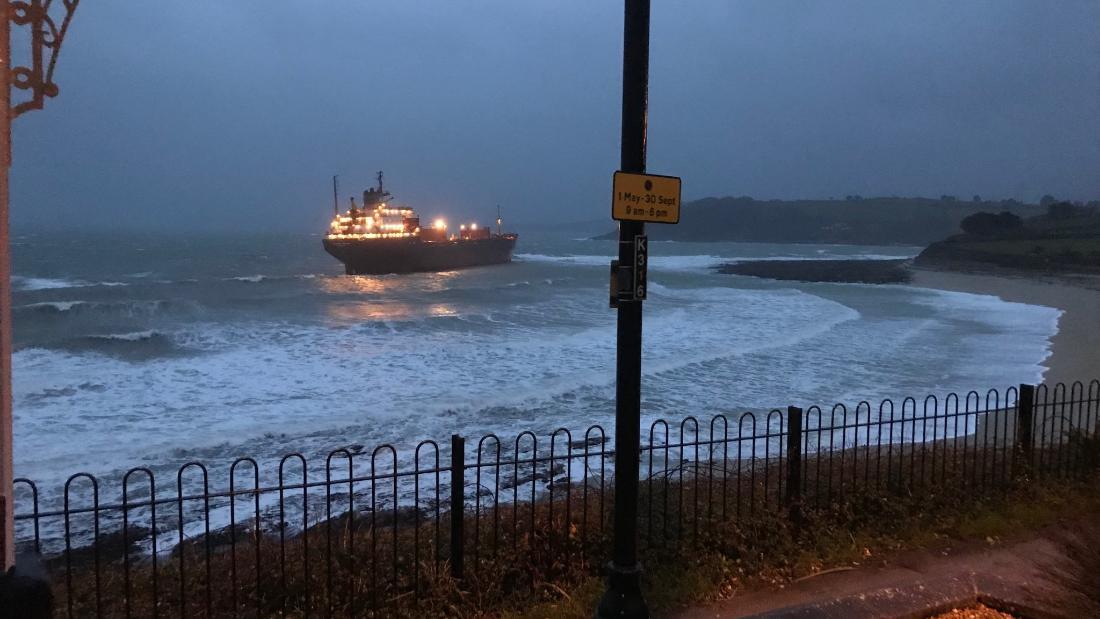 Russian cargo ship with 18 crew runs aground on UK beach