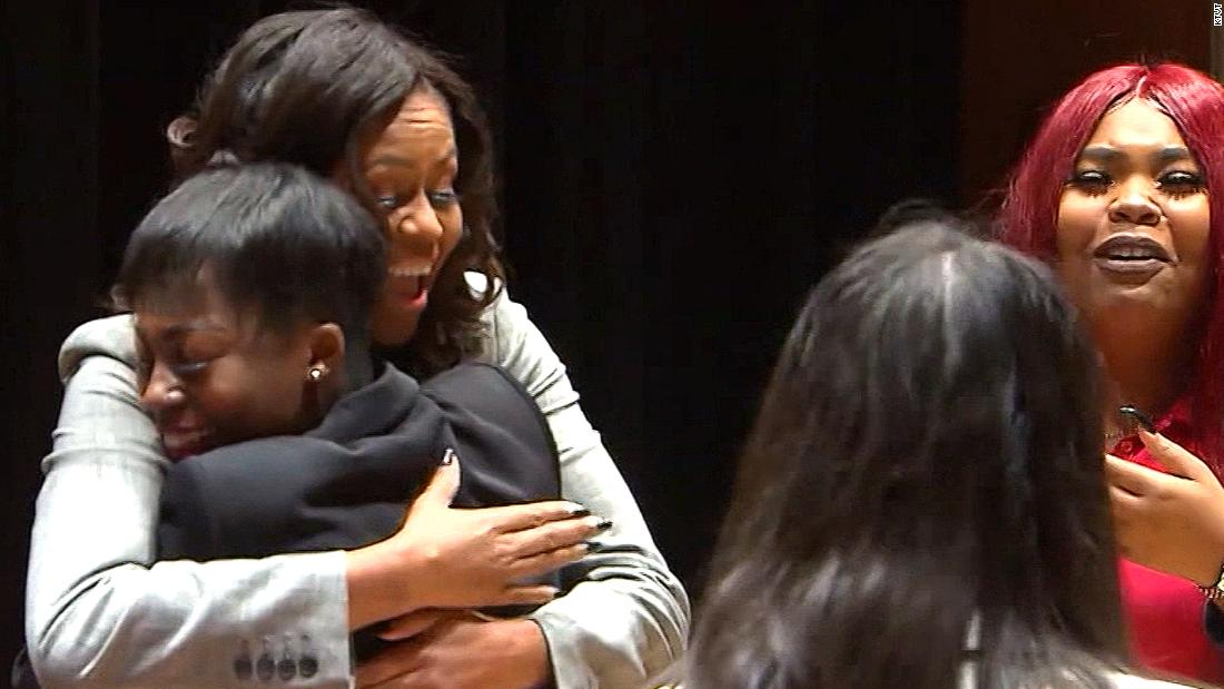 Michelle Obama surprise leaves teens in tears