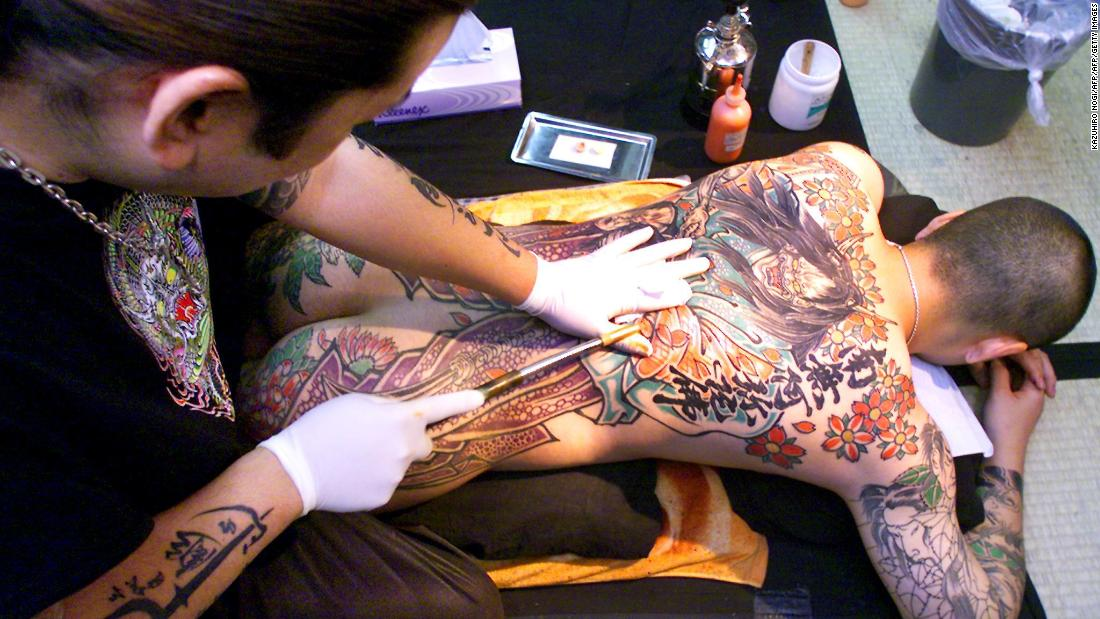 Japanese tattoo artist Horihito at his tattoo studio in Kawasaki.