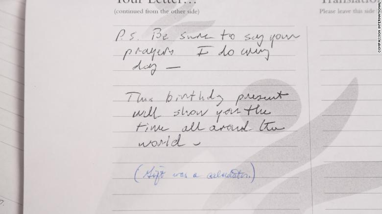 """""""P.S. Be sure to say your prayers. I do every day,"""" President Bush wrote."""