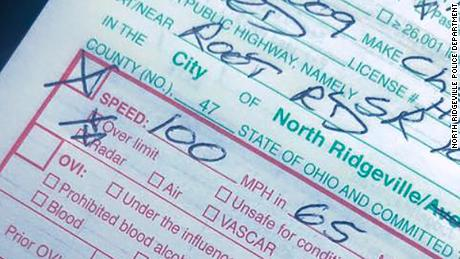 An Ohio police officer wrote that he's proud to have written this ticket to an 18-year-old.