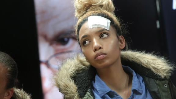 Model Gabriella Engels, seen here shortly after the alleged attack.