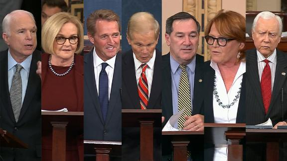 Sens. McCain, McCaskill, Flake, Nelson, Donnelly, Heitkamp and Hatch.